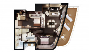 The Haven H2 Deluxe Owner's Suite with Large Balcony Floorplan