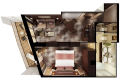 The Haven H6 Aft-Facing Penthouse with Master Bedroom and Balcony Floorplan