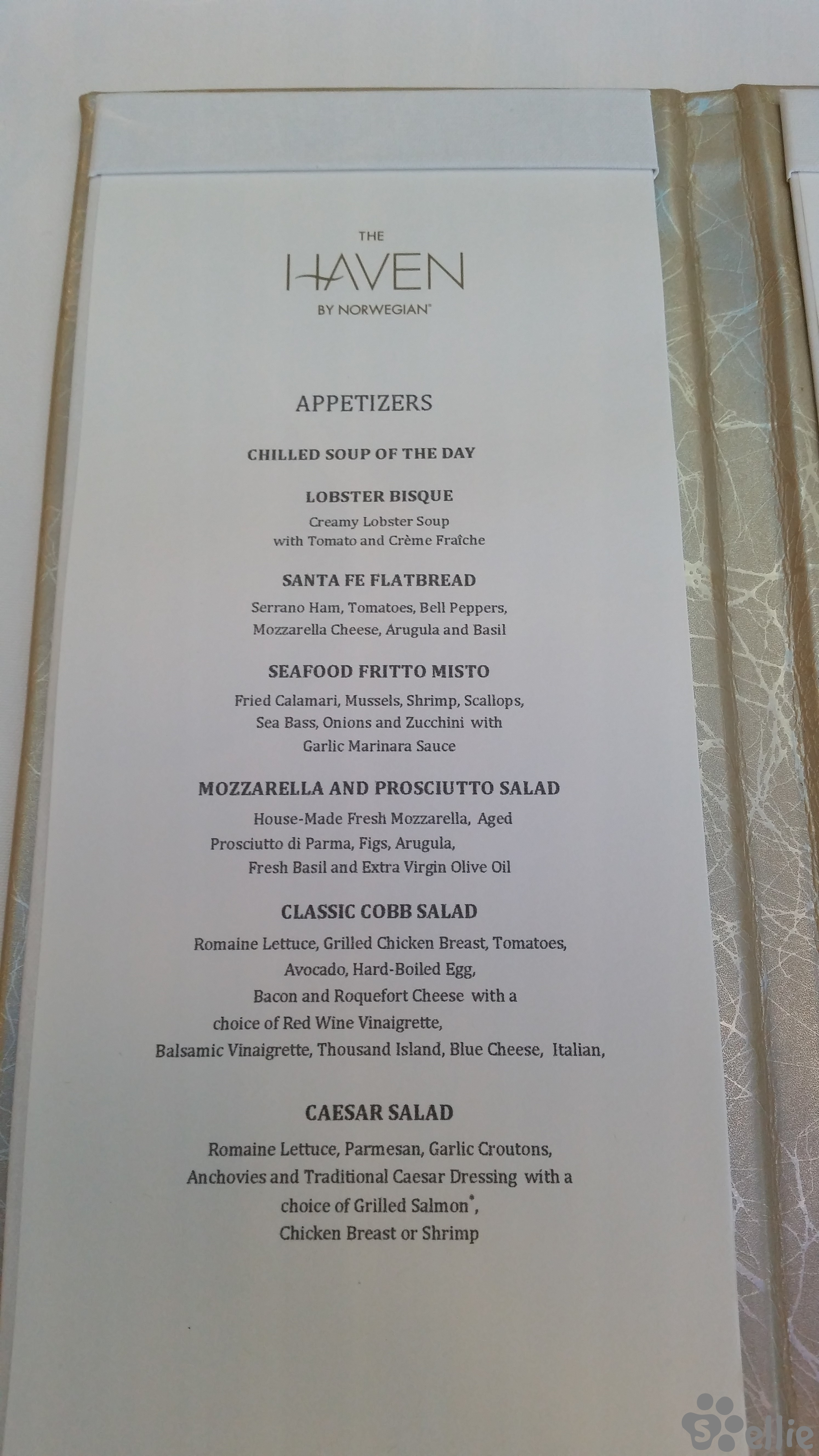 Menu Norwegian Escape